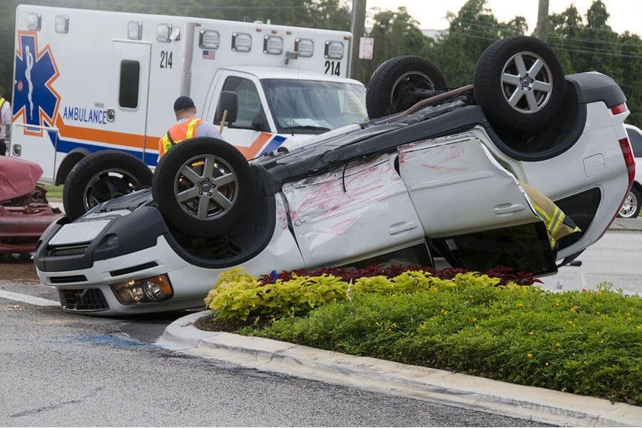 Total wreck white car