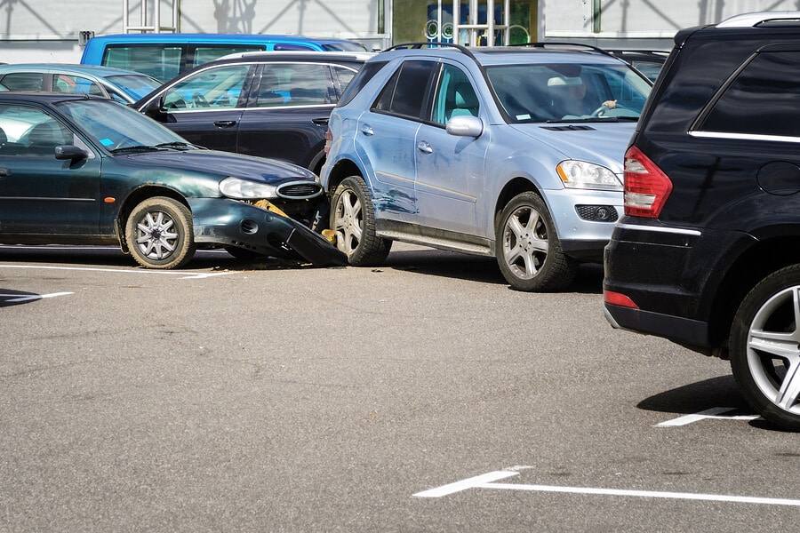 Car accident in the parking lot