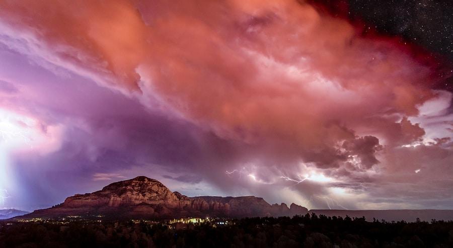 A Summer Monsoon In Sedona Arizona Brings Large Lightning Strike